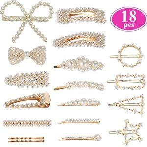 18 PCS Pearl Hair Barrettes Clips